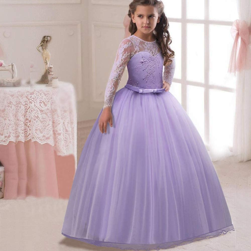 Kids Pageant Party Wedding Floral Tulle Baby Girls Dress Flower Lace Sleeveless