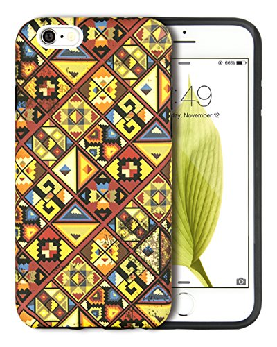 iPhone 6S Case for Girls, Dimaka Design Fashion Pattern Case, Cute Matt Surface Cover with Black TPU for iPhone 6 and 6S - Pixel / Dark Orange
