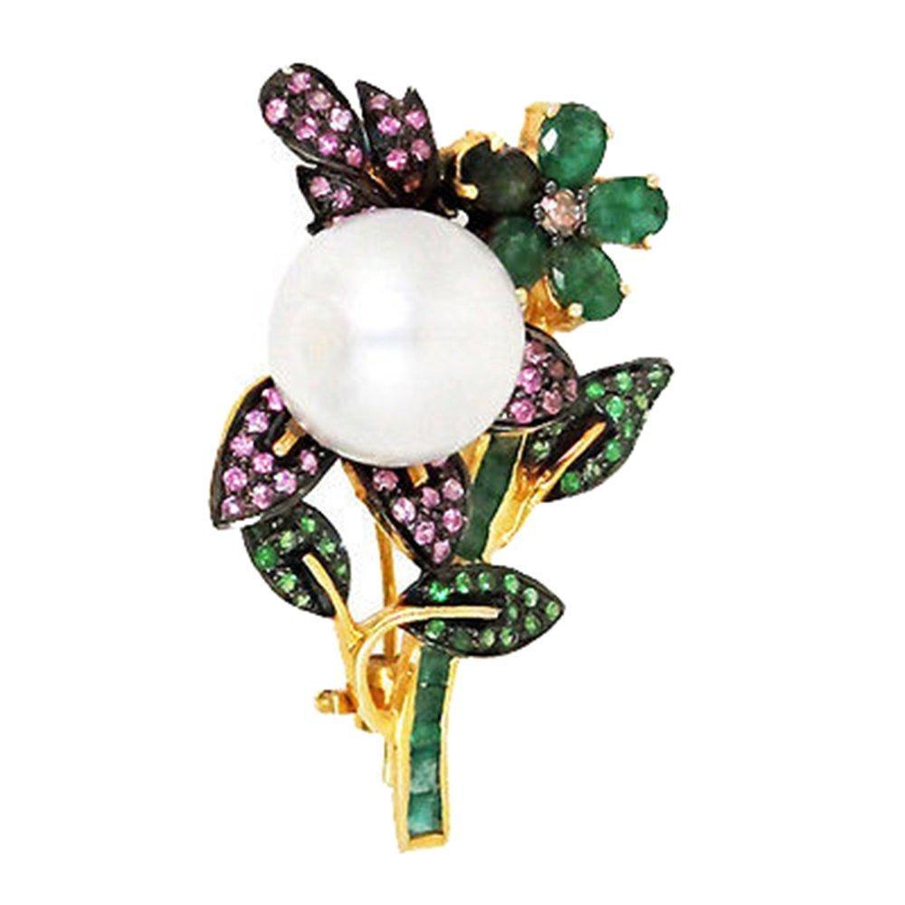 ''Wholesale PEARL/Emerald Gemstone .925 Silver Diamond Sapphire Tsavorite Pin Brooch Jewelry ''