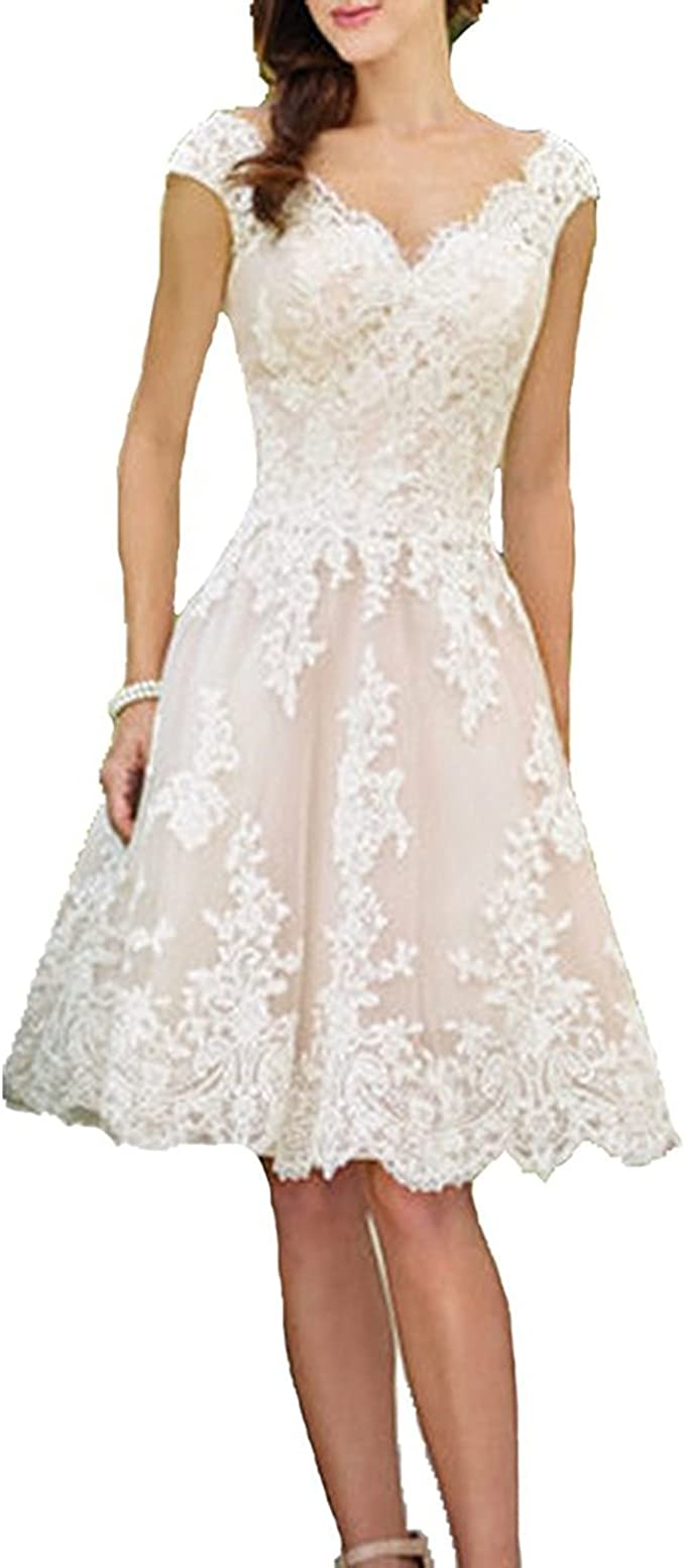 onlinedress Women\'s V Neck Half Sleeve Tea Length Wedding ...