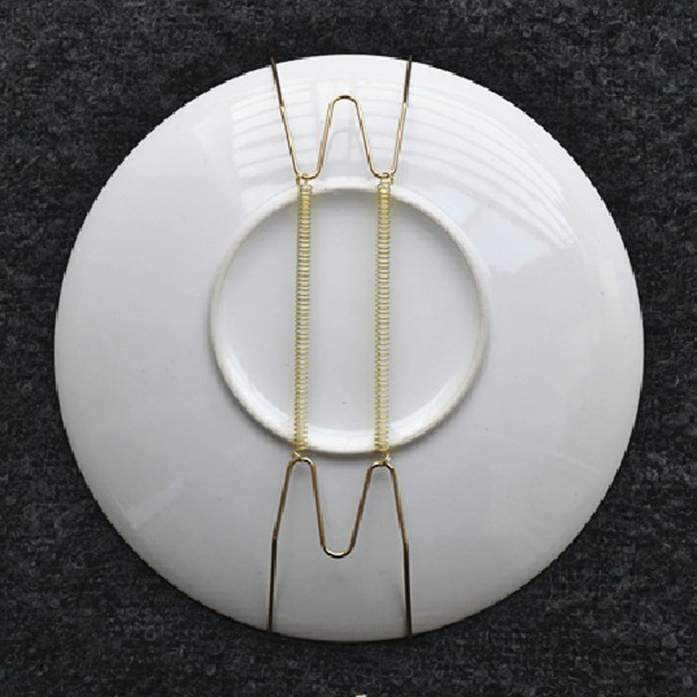 Apint Pack of 10 8-Inch Spring Style Invisible Plate Tray Dish Wire Hanger Holders Brass Coated, Holds 7.5 to 9.5 Plates Aketek-699