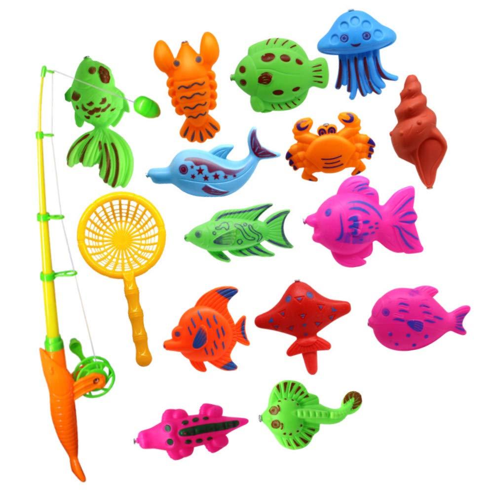 7pcs Set Fishing Fish Rod Model Net Game Fun Toy Kid Children Baby Bath Fun Time
