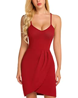04e76190ff Mixfeer Women s Deep V Neck Adjustable Spaghetti Straps Sleeveless Front  Slit Bodycon Wrap Summer Party Dress