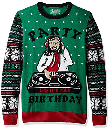 Ugly Christmas Sweater Men's Dj Jesus-Party Like It's Your Birthday, Emerald, L (Jesus Ugly Sweater)