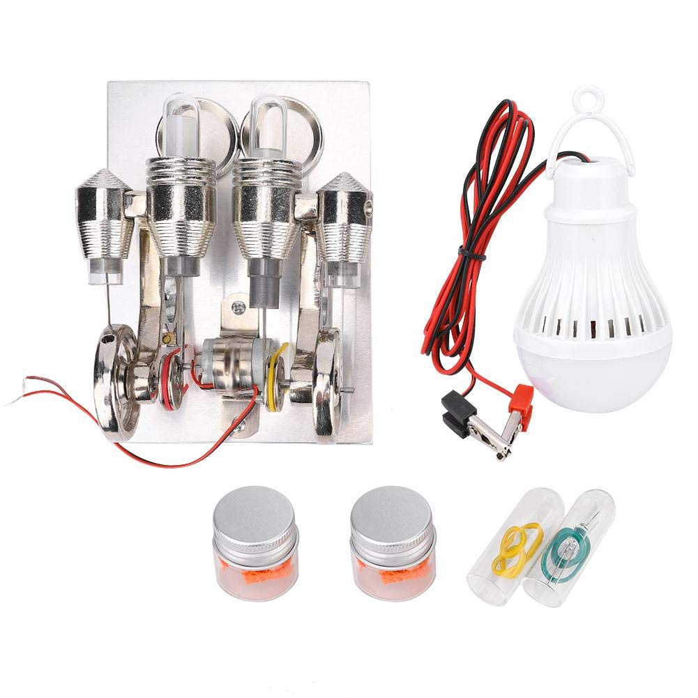 4 Cylinder Stirling Engine Miniature Hot Air Power Generator Stirling Engine Kit Metal 4 Cylinder Parallel Micro External Combustion Engine Model