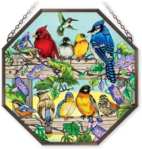 Amia 41046 Hand Painted Octagon Window D cor Panel, Multiple Birds on Rail Design, 15 by 15-Inch