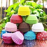 Gabkey 500 Packs Random Colorful Premium Greaseproof Cupcake Liners No Muffin Pan Needed Cupcakes