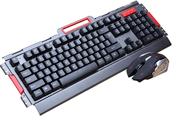Teclado Inalámbrico para Juegos Juego Combinado De Ratón Panel De Metal Juego Gamer 2.4Ghz 2400 dpi para Computadora De Oficina En Casa Smart TV Laptop.: Amazon.es: Hogar