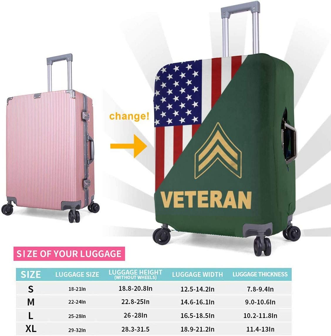 4 Size RANK ARMY VETERAN Printed Business Luggage Protector Travel Baggage Suitcase Cover