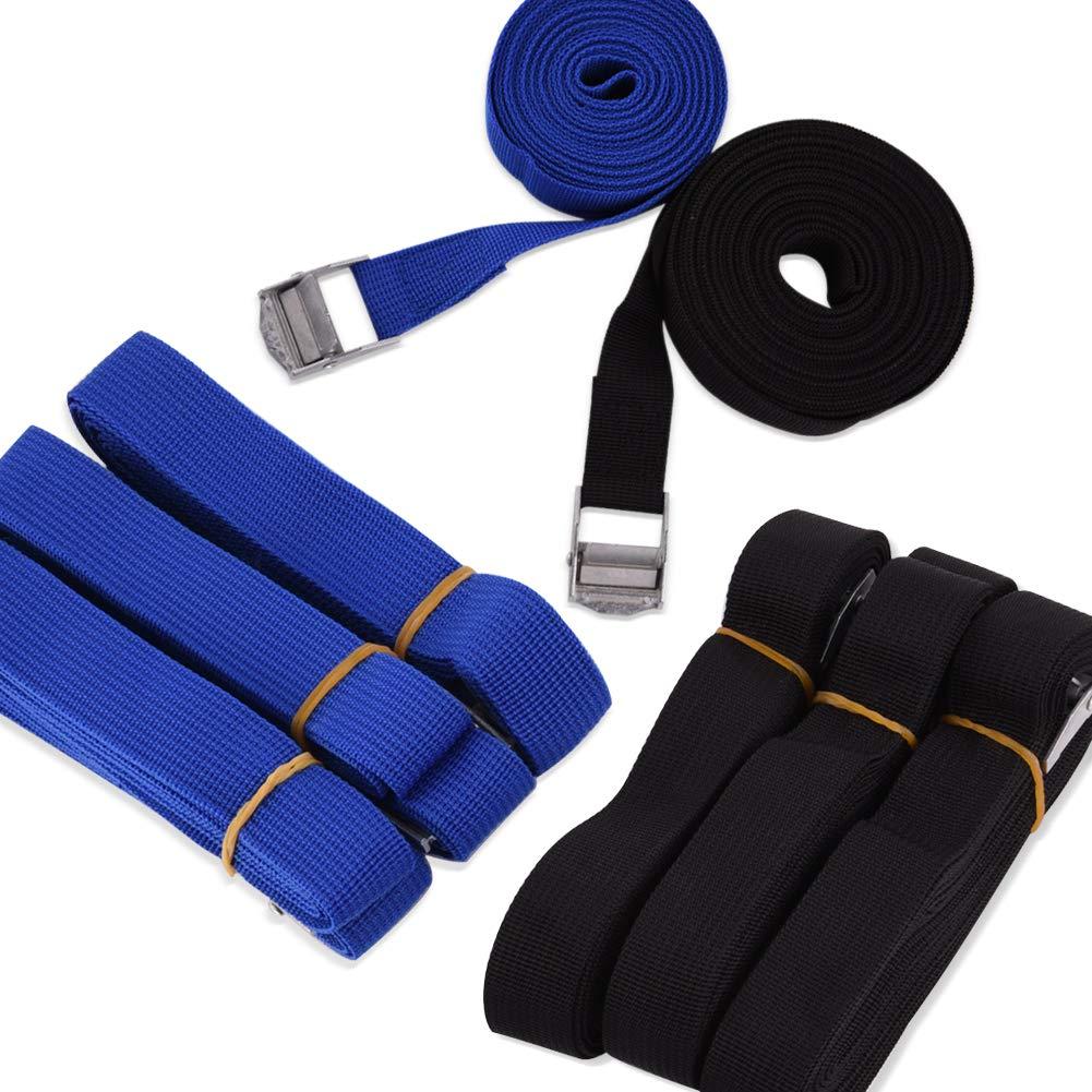 250kg 5 m Black Straps Tension Belt with 3 m Blue Ratchet Lashing Straps for Truck Hold 200kg QUACOWW 8Pcs Heavy Duty Ratchet Straps Set