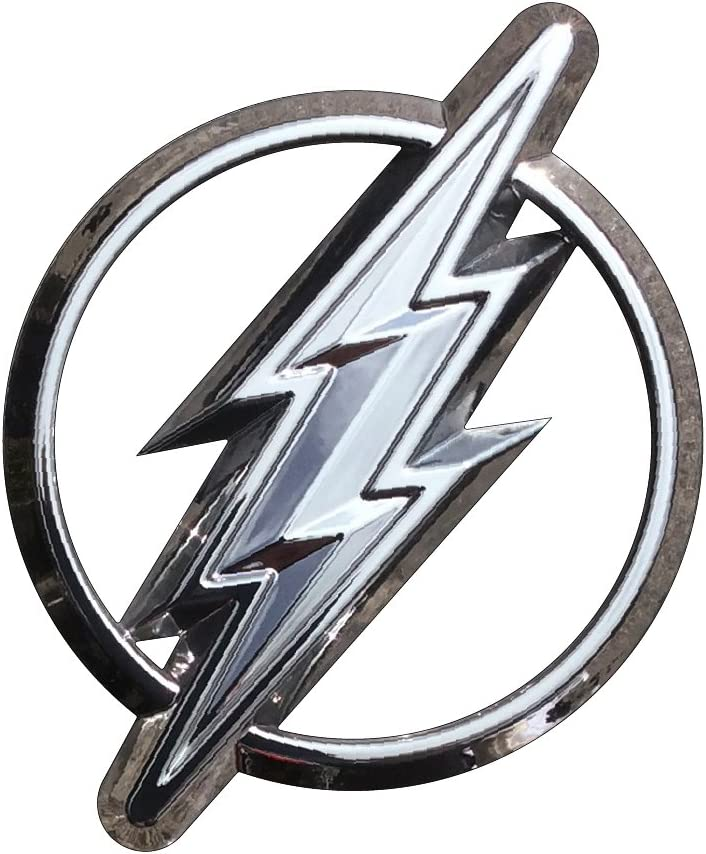 The Flash Logo 3D Car Emblem (Chrome) DC Comics Automotive Sticker Decal Badge Flexes to Fully Adhere to Cars, Trucks, Motorcycles, Laptops, Almost Anything