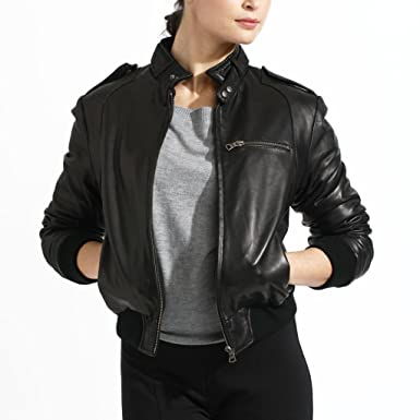 Women's Lambskin Leather Bomber Jacket at Amazon Women's Coats Shop