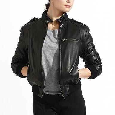 Women's Lambskin Leather Bomber Jacket at Amazon Women's Coats Shop