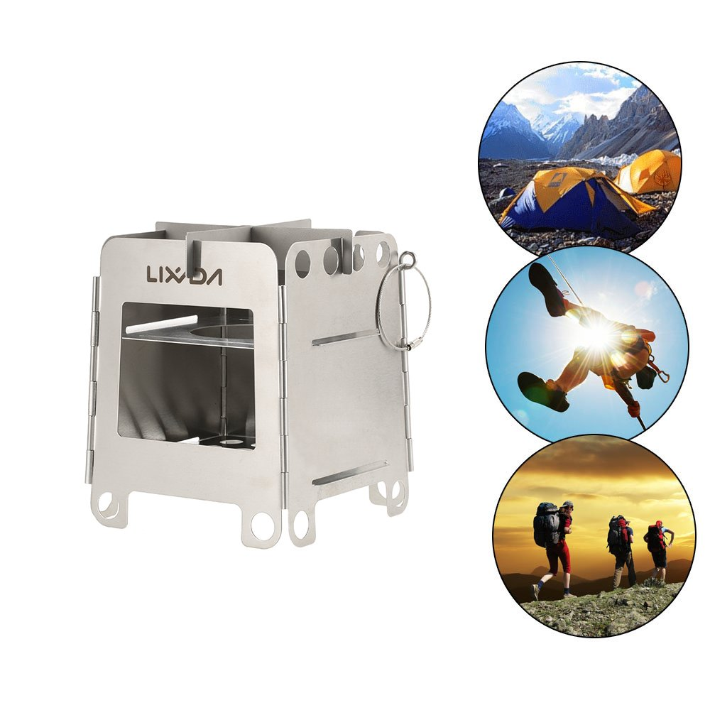 lixada Lightweight Folding Pocket Wood Stove Portable Stainless Steel for Outdoor Camping Backpacking