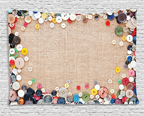 Ambesonne Vintage Decor Collection, Buttons Collection Fabric Texture Canvas Frame Sewing Needlecraft Contemporary Picture, Bedroom Living Room Dorm Wall Hanging Tapestry, 80W X 60L Inch, Multi Color
