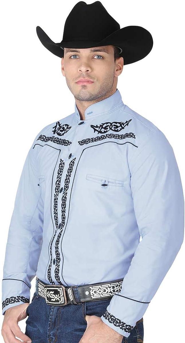 El General Mens Western Style Camisa Charra Charro Long Sleeve Shirt