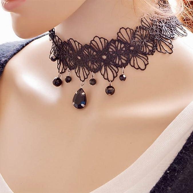 SODIAL Collier Ras du Cou pour Les Filles de Femmes Dentelle Noire Classique de Tatouage Meilleure Decoration pour la Robe DEte