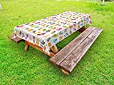 Lunarable Cute Outdoor Tablecloth, Large Collection of Cartoon Animals Jungle Wildlife Forest Nature Life in The Woods, Decorative Washable Picnic Table Cloth, 58 X 120 inches, Multicolor