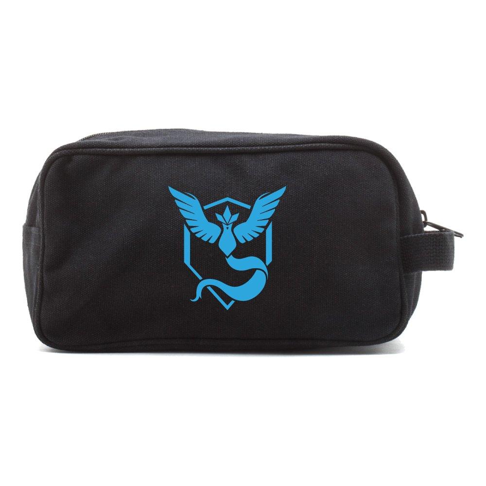 TEAM MYSTIC Canvas Shower Kit Travel Toiletry Bag Case in Black