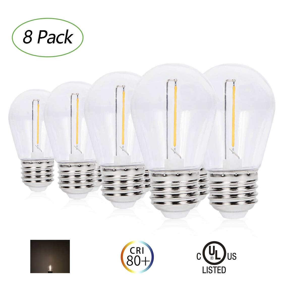 1W PC Cover Non-Dimmable 70 Lumens 2700K Warm White Light Without String Strands E26 Base 8 Pack UL Listed EFFOE Waterproof S14 LED Bulbs