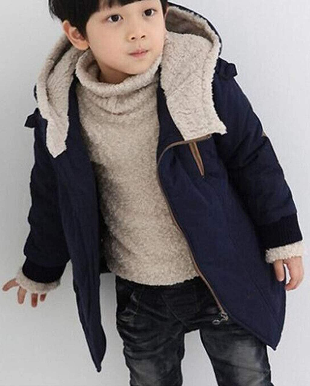 Reaowazo Coat Winter Coats for Boys Fleece Down Jackets Kids Thick Parka with Hooded