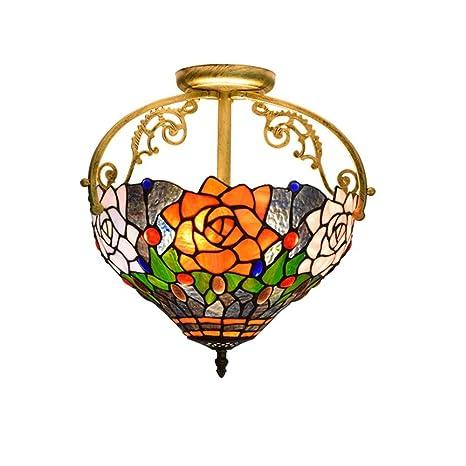 QMHG Lamparas De Techo,Tiffany Flor Design Vitral Lamp ...