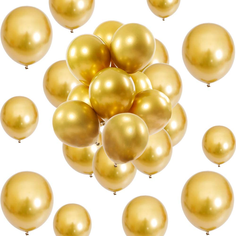 Gold Metallic Chrome Balloons 12 inch Large Latex Balloons for Helium Wedding Birthday Kids' Party Decorations(50 Pcs)