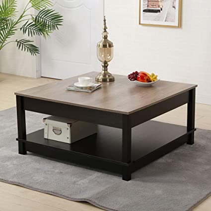 Attirant Bonnlo Modern Living Coffee Table 2 Tier 36u201d Square Coffee Table Bottom  Shelf,