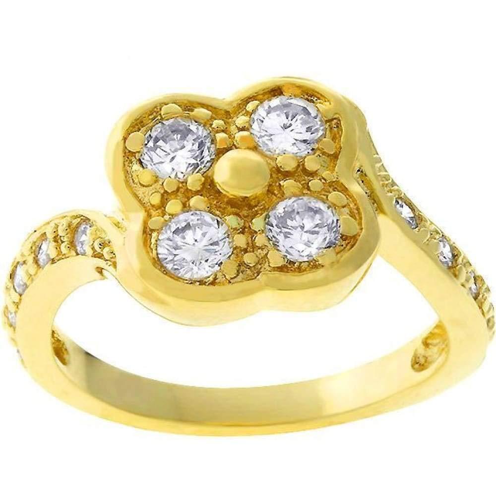 CZ Sparkle Jewelry Cubic Zirconia Clover Ring JGI