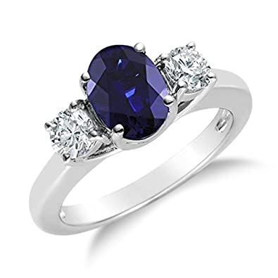 ring blue natural stone genuine gem jewelry woman fine white real sapphire item platinum solid gold precious