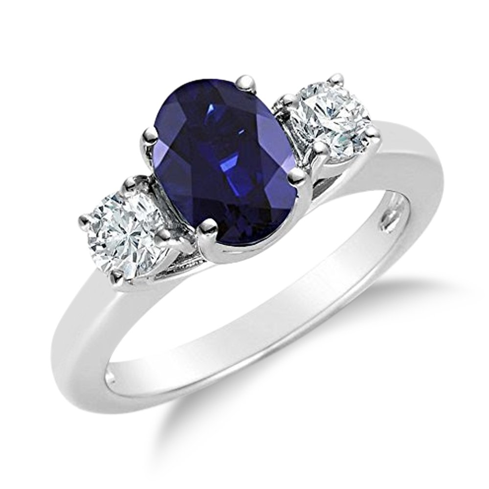 2.00CTW Genuine Diamond and Oval Sapphire 3 Stone Ring in 14k White Gold (7.5)
