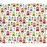 London Fabric - Colorful Retro London Bus Uk Great Britain Pattern by littlesmilemakers - London Fabric with Spoonflower - Printed on Linen Cotton Canvas Fabric by the Yard