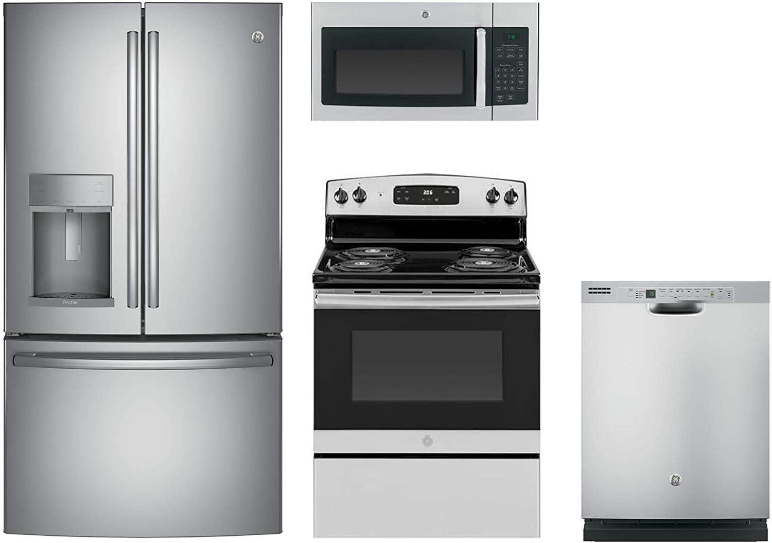 "GE Profile 4-Pcs Kitchen Package with PYE22KSKSS 36""Fridge, JBS360RMSS 30""Freestanding Ele. Range, JVM3160RFSS 30""Over-the-Range Microwave and GDF610PSJSS 24""Full Console Dishwasher in Stainless Steel"