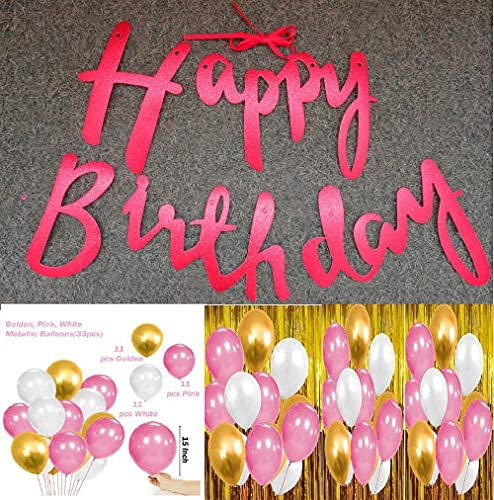 WEBBLE Happy Birthday Banner and Balloons, Set of 34 Decoration Items   Red Glitter Cursive Alphabets Banner and Metallic Balloons for Birthday Party at Home, Hall, Office, College