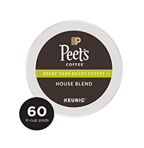 Peet's Coffee Decaf House Blend, Dark Roast, 60 Count Single Serve K-Cup Decaffeinated Coffee Pods for Keurig Coffee Maker