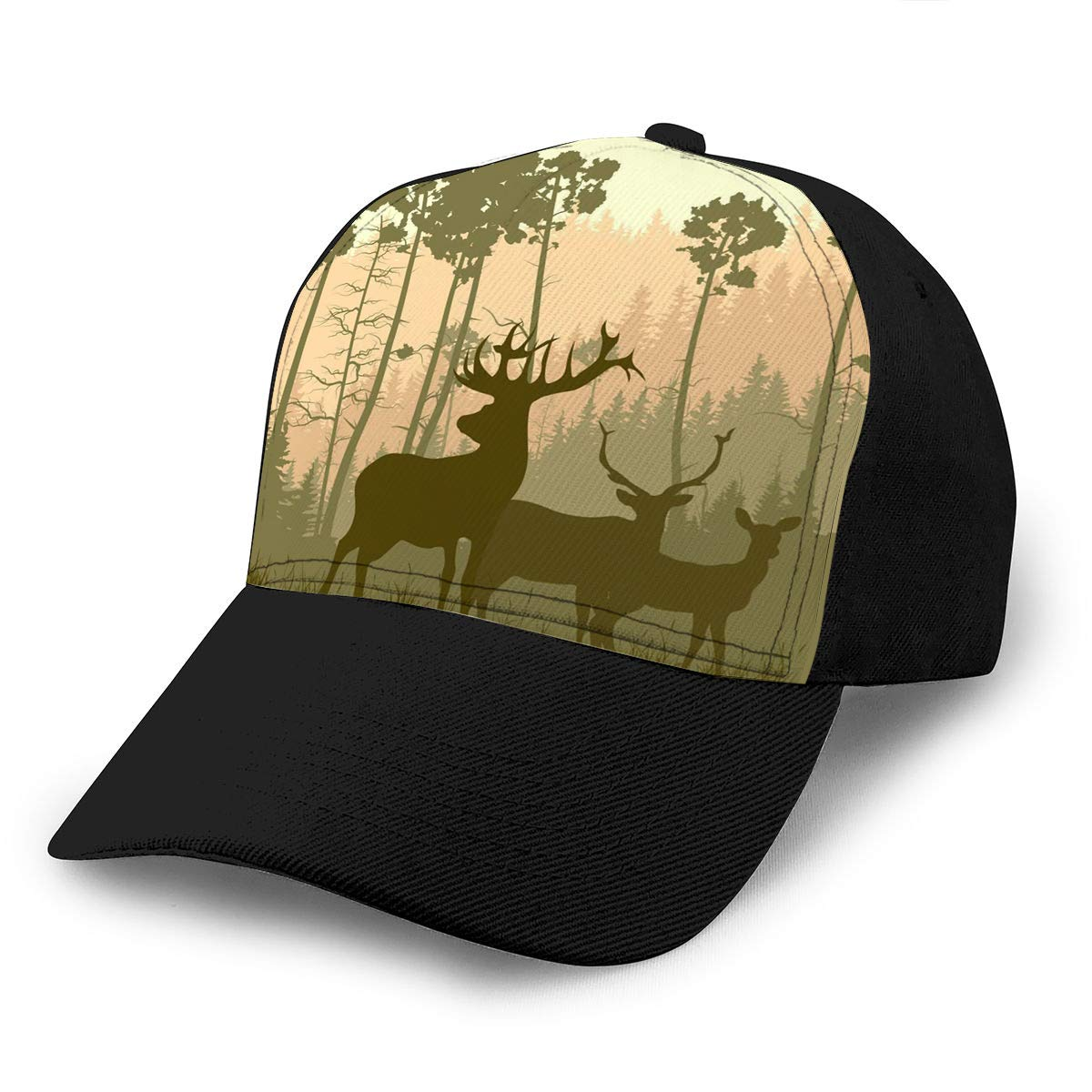 Adult Baseball Cap Square of Grazing Deer Family in Meadow Pine Forest Snapback Cap