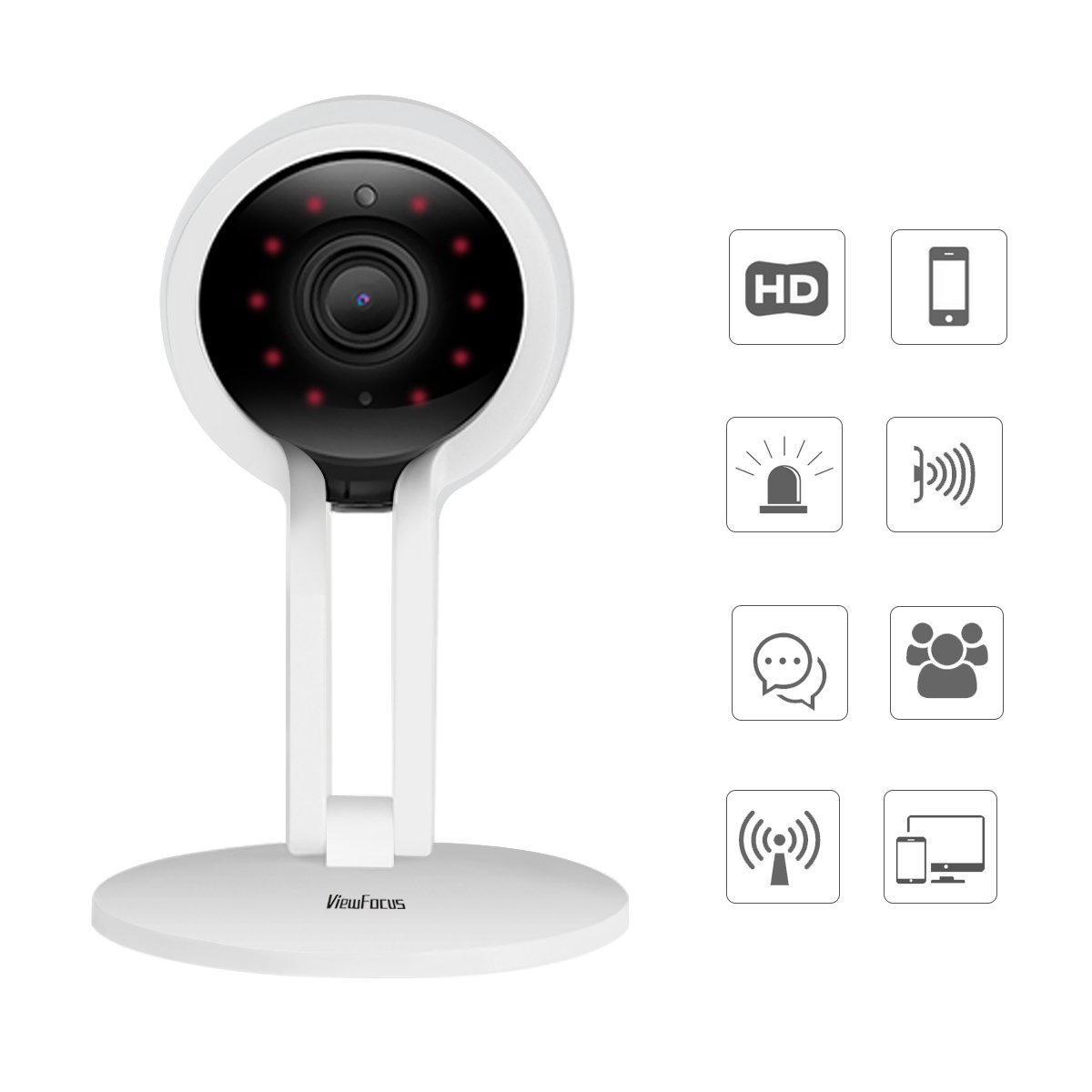 ViewFocus Security Camera, Home Wi-Fi Wireless IP Indoor Camera System with Motion Detection, Night Vision for Baby/Pet / Front Porch Monitor (720P)