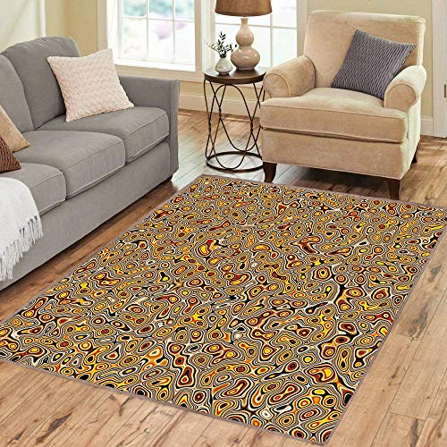 Rug,FloorMatRug,Psychedelic,AreaRug,Abstract Hallucinatory Plasma Shapes with Ethnic Eastern Marbleized Print,Home mat,5'8