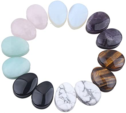 IPINK Water Drop Stone Assorted Color Natural Stone Ear Plugs Expander Piercings 7 Pairs