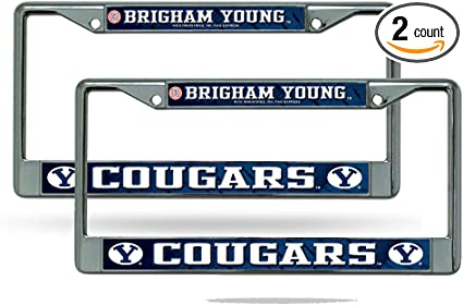 NCAA Rico Industries  Laser Cut Inlaid Standard Chrome License Plate Frame BYU Cougars