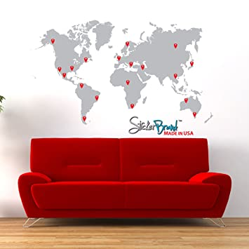 Amazon stickerbrand vinyl wall art world map w pins wall stickerbrand vinyl wall art world map w pins wall decal sticker grey map w gumiabroncs Image collections