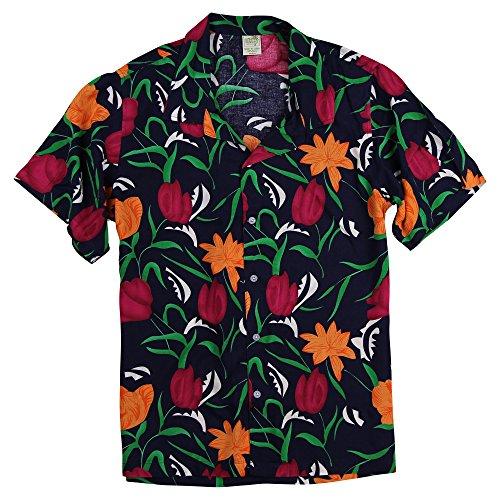 - Urban Boundaries Men's Short Sleeve Lightweight Hawaiian Tropical Patterns Shirts (Maui Navy, Large)