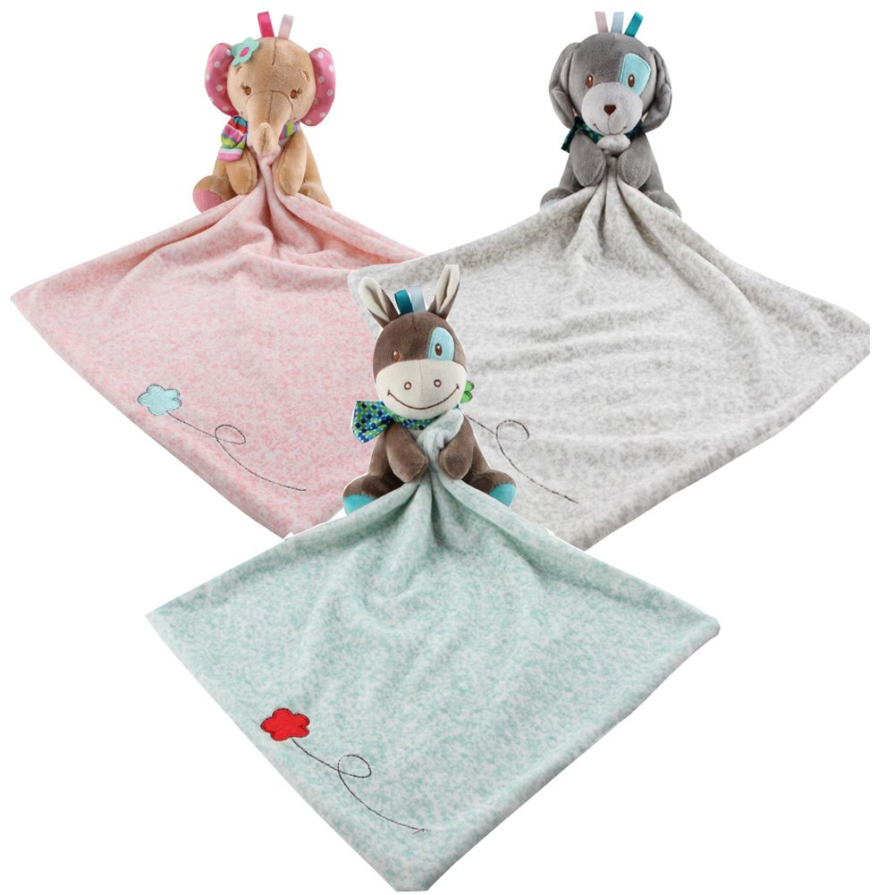 Lucky staryuan 3Pack baby doll Infant Comfort Towel Colored Cotton Sleeping Appease Towel Teething Cloths (Picture Color)