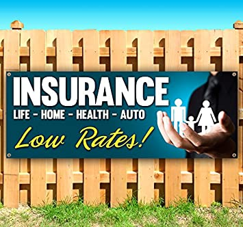 Many Sizes Available Insurance 13 oz Heavy Duty Vinyl Banner Sign with Metal Grommets Advertising New Flag, Store