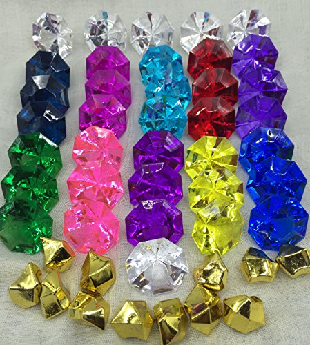36-multi Colored Acrylic Diamond Pirate Treasure Gems+12 Pcs Golden Nuggets for Party Decoration (Plastic Treasure)