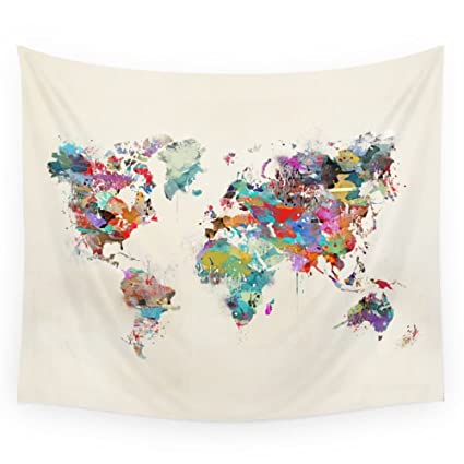 Amazon society6 world map watercolor wall tapestry small 51 x society6 world map watercolor wall tapestry small 51quot gumiabroncs Choice Image