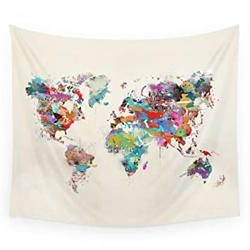 Amazon society6 world map watercolor wall tapestry large 88 x society6 world map watercolor wall tapestry large 88quot gumiabroncs Images