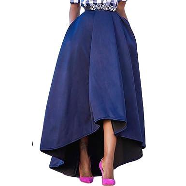95f1cbe692c7 Femme Patineuse Taille Haute Vintage Jupe Longue Plissée Haut Bas Chic  Rétro Robe de Soirée  Amazon.fr  Vêtements et accessoires
