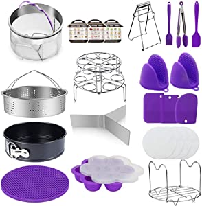 Pressure Cooker Accessories 23 In 1 Set Instant Pot 6, 8 Qt -Steam Cooker Vegetable Steamer Basket, Springform Pan, Egg Steamer Rack, Dish Clip, Steamer Rack trivet Magnetic Cheat Sheets and so on