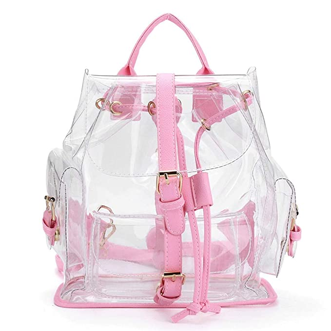 Amazon.com: 2018 Female Backpack Womens Clear Plastic See Through Security Transparent Bag Travel Sac A Dos Femme A0714: Kitchen & Dining